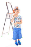 pojken brushes little målarfärg arkivbilder