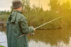 Pojken fångar ett netto vid sjön arkivfoto