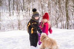 Pojken flicka ger den runda cirkelleksaken till hunden Royaltyfri Fotografi