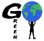 pojken går green Arkivbilder