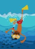 pojken går snorkeling Royaltyfria Foton