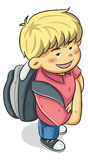 Pojken går till skolan Royaltyfri Foto