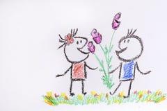 Pojken ger en flicka blommor på en vit bakgrund - illustration Royaltyfri Bild