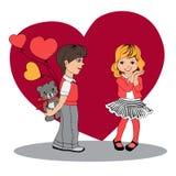 Pojken ger en flicka en gåva valentin för dag s vektor illustrationer