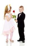 Pojken ger flickan en blomma royaltyfria foton