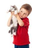 pojken hands kattungen little Arkivbild