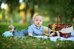 Pojken har en picknick Arkivbild