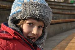 Pojken i amfiteatern Arkivfoton