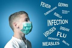 Pojken i den medicinska maskeringen täckte hans framsida bredvid namnet av sjukdomar på blå bakgrund arkivfoton