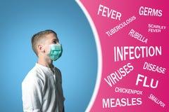 Pojken i den medicinska maskeringen täckte hans framsida bredvid namnet av sjukdomar på rosa bakgrund arkivfoton