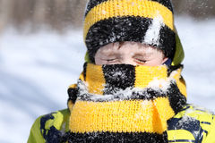 Pojken i en vinter parkerar arkivbilder