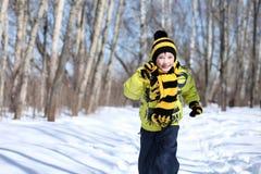 Pojken i en vinter parkerar arkivfoton