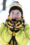 Pojken i en vinter parkerar royaltyfri foto