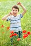 Pojken i röd blommaäng har gyckel Arkivfoto