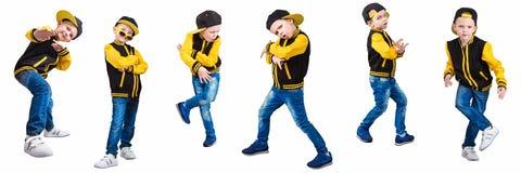 Pojken i stilen av Hip Hop Mode för barn` s Lock och omslag fotografering för bildbyråer