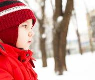 Pojken i vinter parkerar Arkivbilder