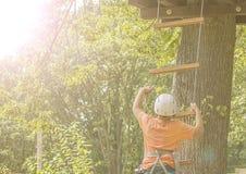 Pojken klättrar ett träd Arkivbild