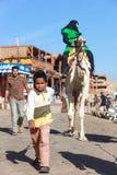 Pojken leder en kamel arkivbild