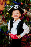 pojken little piratkopierar dräkten Arkivbilder