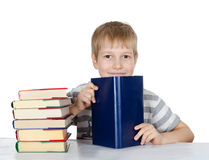 Pojken läser boken Royaltyfria Bilder