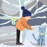 Pojken möter en katt Arkivbilder