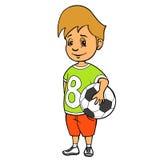 Pojken med fotboll klumpa ihop sig också vektor för coreldrawillustration Royaltyfri Fotografi
