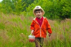 Pojken med hinken av jordgubbar i ängen Arkivfoton