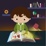 Pojken med läroboken vektor illustrationer