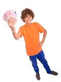 Pojken med pengar i hans räcker Royaltyfri Bild