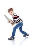 Pojken med svärdet Arkivbild