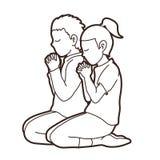 Pojken och flickan ber tillsammans, bönen, be barn för kristen ber med guden stock illustrationer