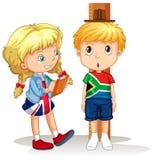 Pojken och flickan mäter höjden stock illustrationer