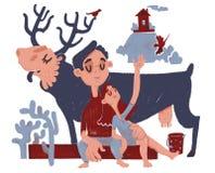 Pojken och flickan med den blåa älgen har ferier på naturen i skogen royaltyfri illustrationer