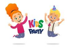 Pojken och flickan med födelsedaghattar som hoppar lyckligt med deras händer upp ungar, festar vektor illustrationer