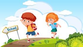 Pojken och flickan som går till, skolar vektor illustrationer