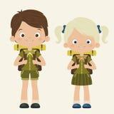 Pojken och flickan spanar royaltyfri illustrationer