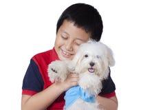 Pojken omfamnar en maltese hund i studio Royaltyfria Bilder