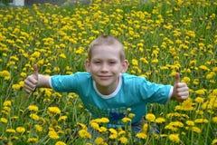 Pojken på en röjning från maskrosor Arkivbilder