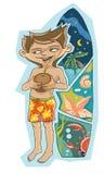 Pojken på stranden stock illustrationer