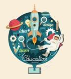 Pojken på utrymme med den infographic raketutbildningsdesignen, lär conc Royaltyfri Bild