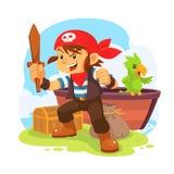pojken piratkopierar Vektor Illustrationer