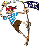 pojken piratkopierar Royaltyfri Bild