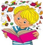 Pojken ser i en bok royaltyfri illustrationer
