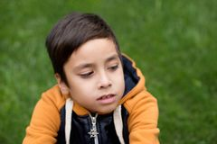 Pojken sitter på en gräsmatta och tänker Royaltyfria Bilder