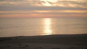 Pojken sitter på stranden på solnedgången och kastar en sten in i havet stock video