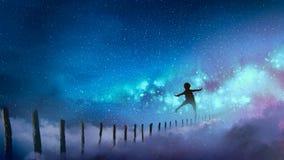 Pojken som balanserar på trä, klibbar mot Vintergatan vektor illustrationer