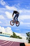 Pojken som hoppar en höjdpunkt, bedövar på en mountainbike Den unga ryttaren på hjulet av hans bmx gör ett trick Cyklistritter på arkivbild