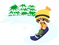 Pojken som snowboards Fotografering för Bildbyråer