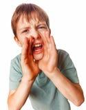 Pojken som tonåringen som kallar skrik, lurar rop, öppnade hans Arkivfoto