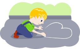 pojken tecknar hjärta Arkivbild